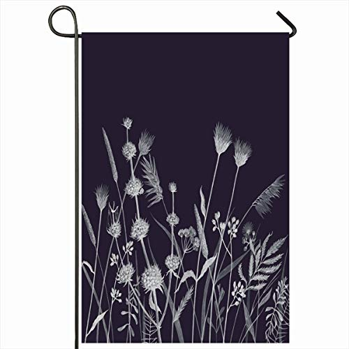 Ahawoso Outdoor Garden Flag 12x18 Inches Flora Petal Floral Pencil Drawing Wild Flowers Bush Season Artistic Autumn Black Blossom Field Seasonal Double Sides Home Decorative House Yard Sign