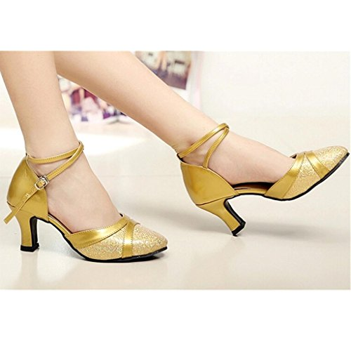 Gold 2 Latin Shoes Modern Dance Salsa Ballroom 4