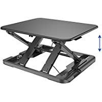 TOTALPACK Standing Desk -X-Elite PRO Sit Stand Desk Converter - Anti Fatigue Height Adjustable Workstation, Extra Large 26.5 x 22.2 Desktop Surface, Easy To Raise & Lower - Pre-Assembled, Black