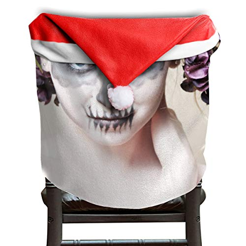 EDYE Halloween-Zombie Bride Makeup Girl Christmas Xmas Themed Dinning Seat Chair Cap Hat Covers Ornaments for Backers Slipcovers Wraps Coverings Decorations Protector Set -