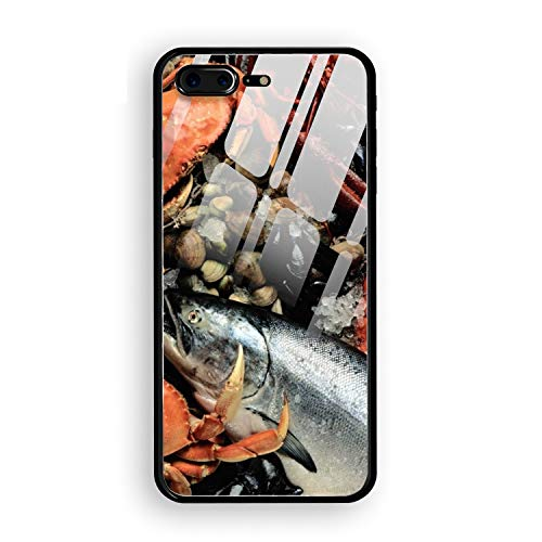 Fresh Fish Mussel - Fresh Fish Crab Lobster Mussels Personalized Case Compatible iPhone 7/8 Plus, Shock Absorbing Protective Bumper Case, Birthday