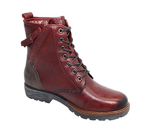 Jana Leder Schnür-Boots, 8-25206-25, Bordeaux Comb (548) Rot