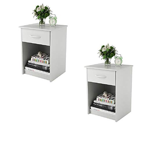 (Set of 2 Nightstand MDF End Tables Pair Bedroom Table Furniture Multiple Colors (Gray) (2 Sets, White))