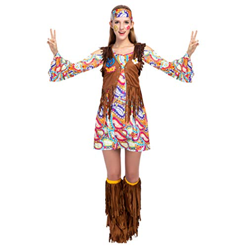 Spooktacular Creations Peace Love 60s/70s Happy Hippie Costume for Women with Hippie Accessories (Medium) ()
