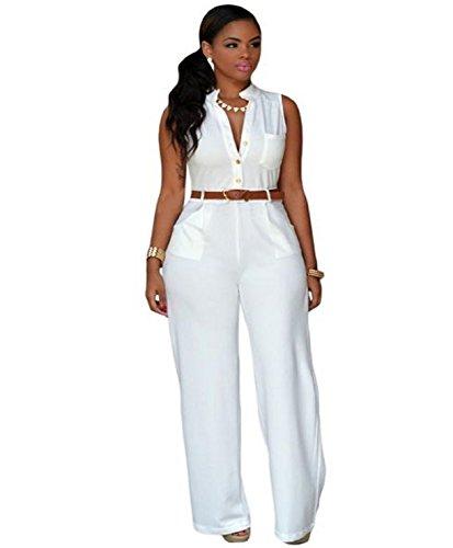 Culater Las mujeres Soild el sistema del partido de Bodycon Clubwear del mono de los pantalones con la correa Blanco