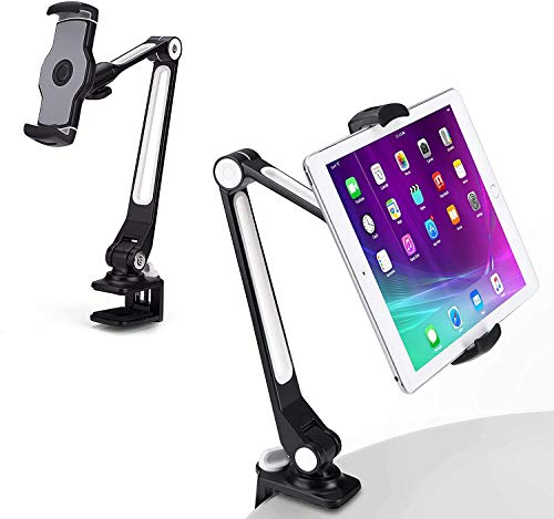 "URBAN KINGS Aluminum Tablet Stand, Cell Phone Stand, Folding 360° Desk Mount Holder fits 4-11"" Tablets (Black)"