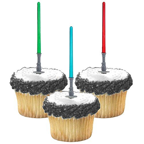 Adorox ( 24 pcs ) Star Wars Lightsaber Cupcake Picks Toppers Birthday Fun Party Decorations Kit (24)