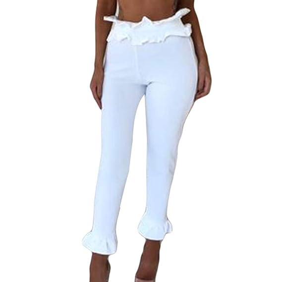 Pantalones Leggings 3 4 para Mujer Otoño Invierno 2018 Moda PAOLIAN Casual  Pantalones Vestir Cintura Alta Volantes Pantalones Ajustado Sólido Negro  señora  ... e5968f41547c