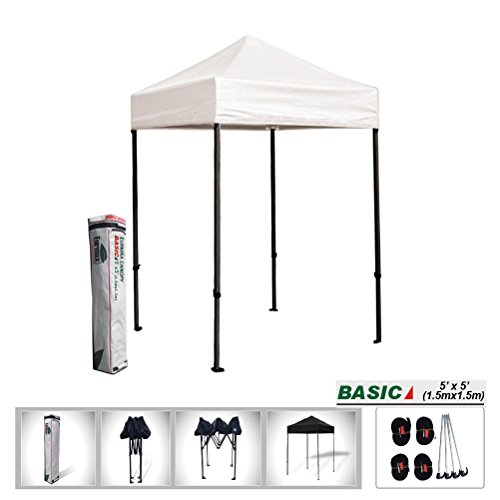 Eurmax 5x5 Easy Pop up Tent Outdoor Patio Instant Canopy with Deluxe Carry bag (White)
