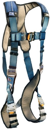 (3M DBI-SALA, ExoFit, 1110102 Fall Protection Full Body Harness, with Back D-Ring, Quick Connect Buckle Legs, 420  lb. Capacity, Large, Gray/Blue)