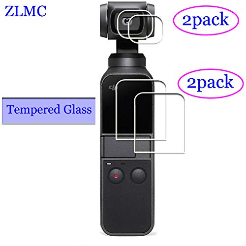 ZLMC Lens +Screen Protector for DJI Osmo Pocket Camera, 9H Tempered Glass, Anti-scrach Anti-Bubble Anti-Water Anti-Fingerprint Anti-Dust [2+2 Pack] for Both The LCD and Lens Screens