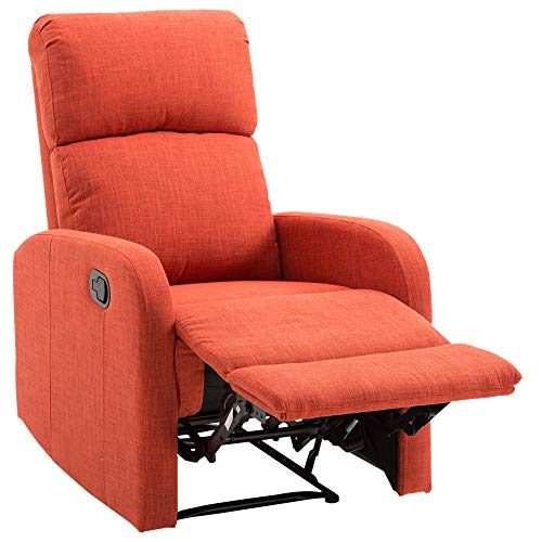 HOMCOM Linen Fabric Manual Recliner Lounger Chair with Footrest – Red