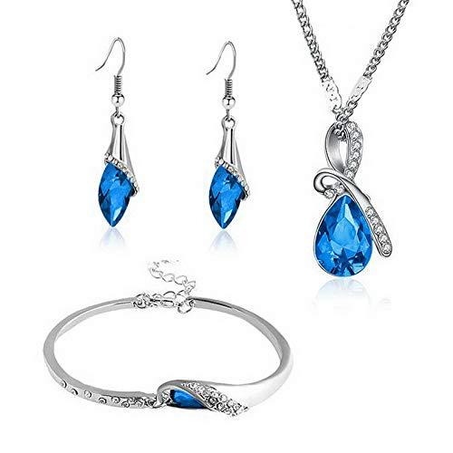- Endicot Bridal Blue Crystal Necklace Earrings Bracelet Pendant Wedding Jewelry Set Gift | Model ERRNGS - 3923 |