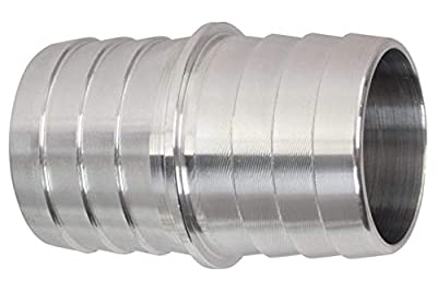 """ICT Billet 1-1/4"""" to 1-1/4"""" Inch Hose Barb Splice Coupler Repair Fitting Adapter Connector Radiator Coolant Intercooler Heat Exchanger Fluid Designed & Manufactured in USA Bare Aluminum AN627-20A"""