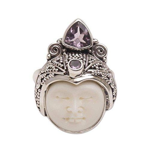 NOVICA Amethyst .925 Sterling Silver Cow Bone Ring, White Knight'