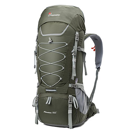 Mountaintop 80L Internal Frame Backpack Hiking Backpack with Rain Cover YKK buckle-5820II (75L Gray)