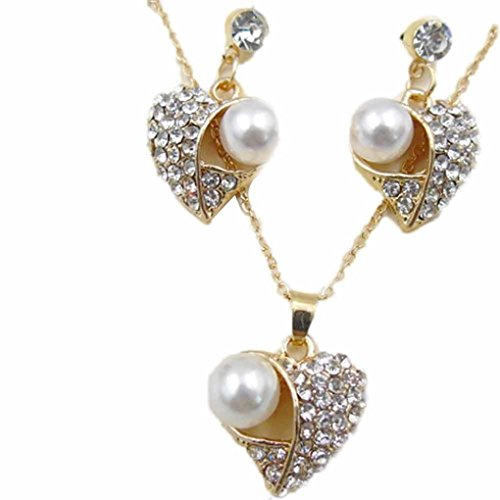 Love Forever Rhinestone (Love Heart Pendant Necklaces,Hemlock Women Banquet Wedding Earrings Necklaces Pearl Crystal Necklaces Jewelry (Gold-2))