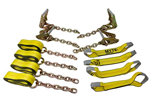(Mytee Products Roll Back Tie Down System Chain Ends 8 Point for Car Hauler Carrier Tow Truck)