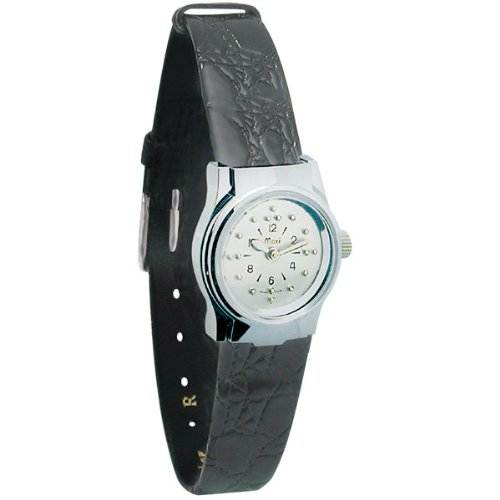 Ladies Chrome Quartz Braille Watch with Leather Band by MaxiAids