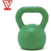 RV Green Powder Coated Solid Cast Iron Kettlebell Weights (Weight 10KG)