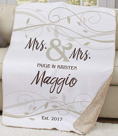 Personalized Wedding Sherpa or Couples Blanket. Lovely Wedding Mrs. & Mrs.