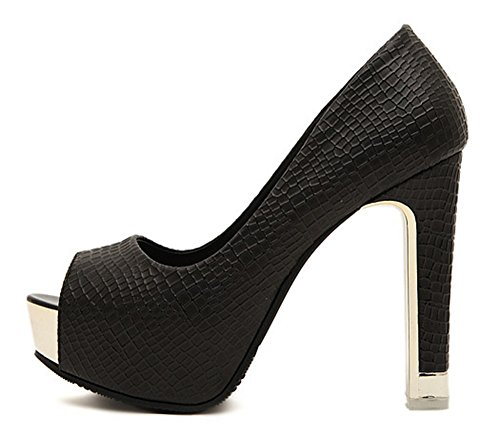 Chfso Womens Trendy Peep Toe Laag Uitgesneden Platform Hoge Hak Jurk Pumps Schoenen Zwart