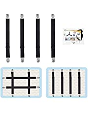 4Pcs Adjustable Bed Sheet Straps Clips, Elastic Mattress Sheet Fasteners Holder and Suspenders, Grippers to Hold Sheet, Mattress, Sofa, Couch, Table Cloth, Recliner Ironing Board Cover and More…