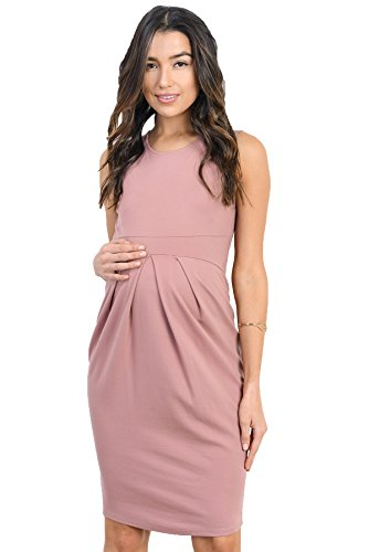(LaClef Women's Knee Length Midi Maternity Dress with Front Pleat (Large, Mauve))