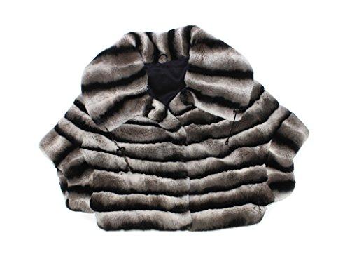 710747 New Chinchilla Dyed Rex Rabbit Fur Circular Crop Jacket (Rabbit Fur Crop)
