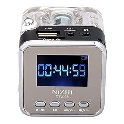FM Radio,soled TT-028 MP3 Mini Digital Portable Music Player Memory Card USB FM Radio with Digital Display Screen Black