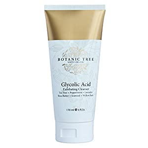 Glycolic Acid Exfoliating Cleanser 6 oz w/ 10% Glycolic Acid - w/ AHA For Wrinkles and Lines Reduction-Acne Face Wash For a Deep Clean -100% Organic Extracts w/ Tea Tree,Shea Butter,and Bamboo
