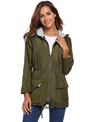 Lined Petite Coat - BEAUTEINE Rain Jacket Women Waterproof with Hood Lightweight Packable Active Outdoor Raincoats Green Medium