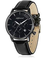 Shifenmei Unisex Erwachsene Chronograph Armbanduhr Analog Quarzwerk Kalender mit Leder Armband 1082