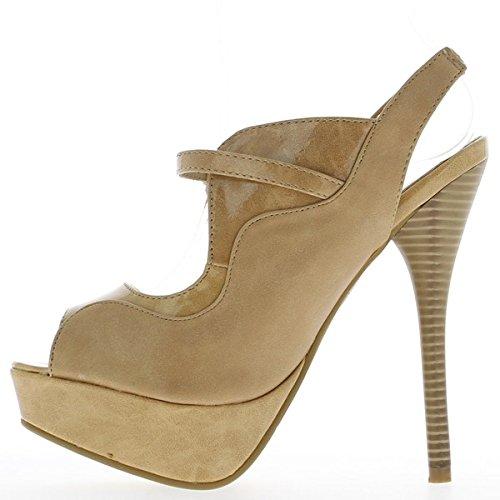 tacchi alti 14,5 cm e piattaforma Sandali donna beige