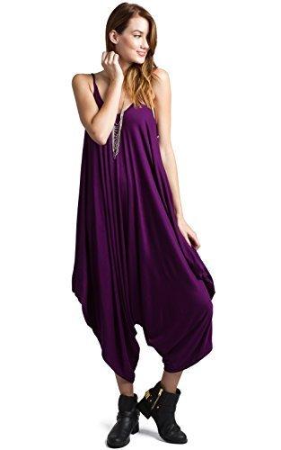 Love In JP2883 Solid Color Ladies Spaghetti Strap Loose Fit Harem Jumper Jumpsuit Purple S