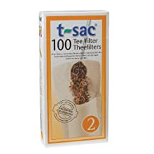 T-Sac Disposable Paper Filter Tea Bags, Size 2, 100-Count