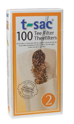 T-Sac Tea Filter Bags, Disposable Tea Infuser, Number 2-Size, 2 to 4-Cup Capacity, Set of 100