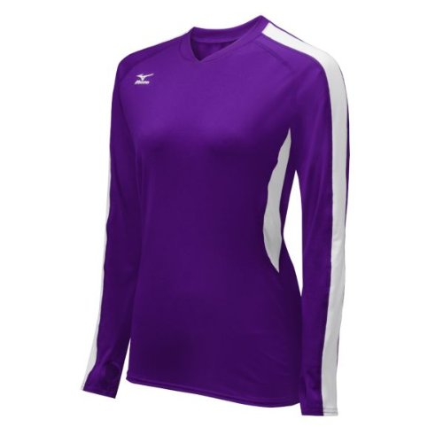 Mizuno Women's Techno Volley IV Long Sleeve Jersey, Purple/White, X-Large