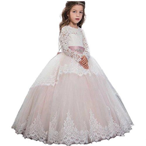 Us Angels First Communion - Angel Dress Shop Flower Girl Dress Applique Long Sleeves First Communion Pageant Gown Wedding Dress