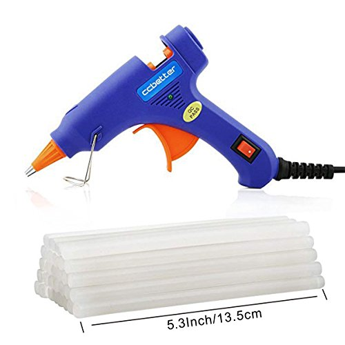 ccbetter Upgraded version Mini Hot Melt Glue Gun with 30pcs Glue Sticks with Removable Anti-hot cover Glue Gun Kit Flexible Trigger for DIY Small Craft Projects&Sealing and Quick Repairs 20-watt, Blue