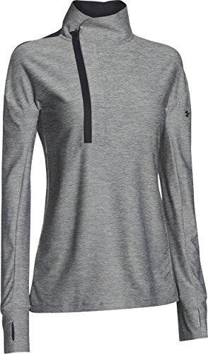 Under Armour Women's Hotshot 1/2 Zip Pullover, Black/True Gray Heather, Medium