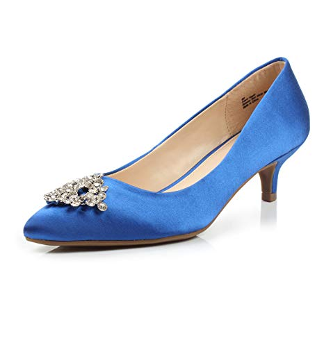 - FOOTSELF Dunion BRIOCHE Women's Fashion Comfortable Rhinestone Embellished Buckle Pointed Toe Kitten Heel Dress Party Wedding Pump,BRIOCHE Royal Blue,7 B(M) US