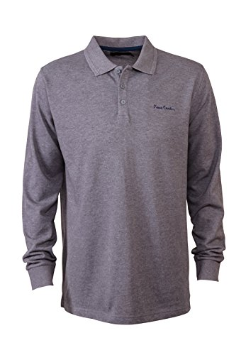Pierre Cardin Mens New Season Long Sleeve Classic Fit Premium Polo T Shirt (Large, Charcoal Marl) (Cardin Pierre Clothes)