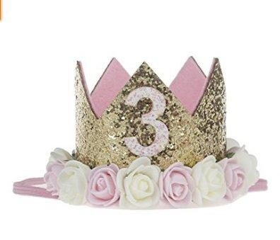 Amoy.B 3 años de Edad Flor Blanca Corona de Oro Corona de Flores para niños Venda del Pelo Fiesta de cumpleaños del bebé Rendimiento Venda de la Foto ...
