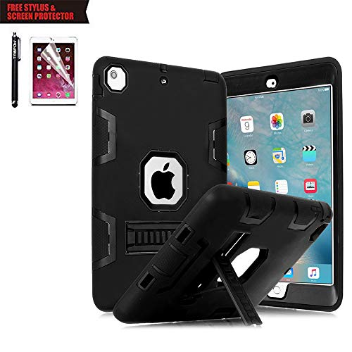 iPad Air 2 Case, TabPow [Hybrid Shockproof Case] Rugged Triple-Layer Shock-Resistant Drop Proof Defender Case with Kickstand [Full Warranty] for Apple iPad Air 2 with Retina Display/iPad 6, Black