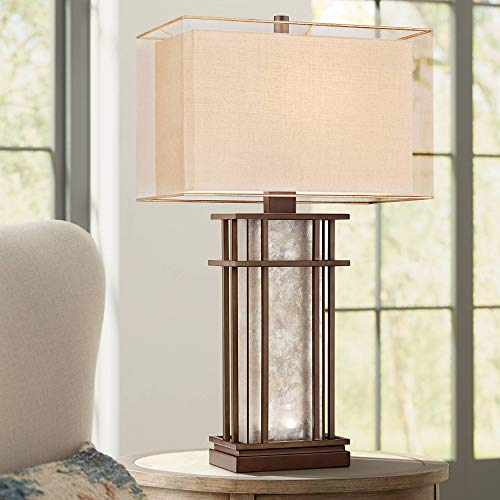Rhodes Farmhouse Table Lamp with Nightlight LED Rustic Bronze Mica Glass Boxy Neutral Shade for Living Room Bedroom Bedside Nightstand Office Family - Franklin Iron Works