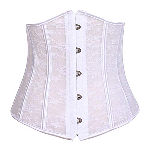 BARGOOS Women Underbust Corset Belt for Halloween Plus Size Floral Lace Up Waist Trainer for Weight Loss -