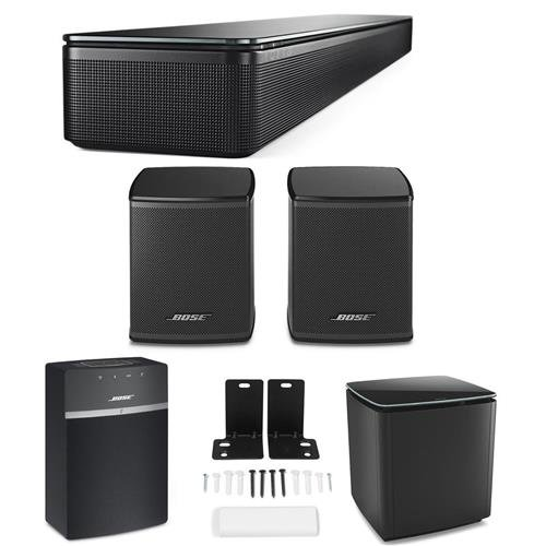 Bose SoundTouch 300 Soundbar, Black - Bundle With Bose Acoustimass 300 Wireless Bass Module Black, Bose SoundTouch 10 Wireless Music System, Bose 300 Wireless Surround Speakers Black, Wall Bracket Kit by Bose