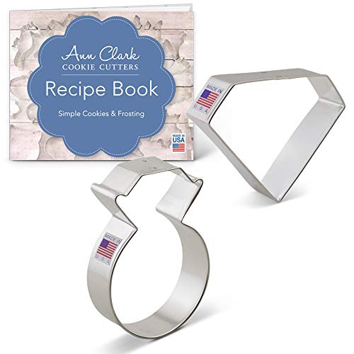 Diamond/Engagement Ring Cookie Cutter Set - 2 piece - Diamond Gem & Engagement Ring - Ann Clark - USA Made Steel