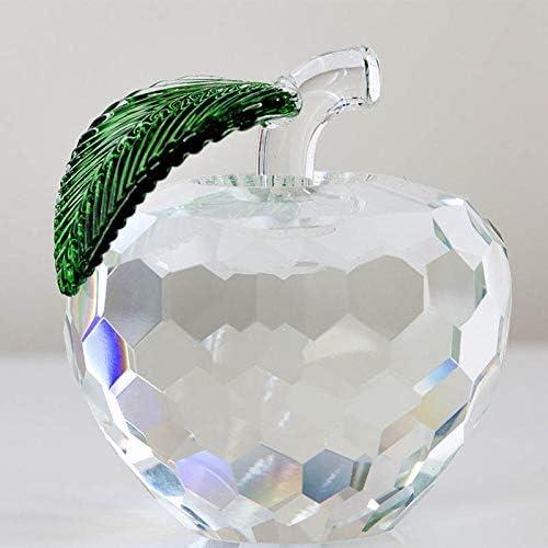 Statuen Skulptur Muttertagsgeschenk 1PC Modern 3D Kristall Briefbeschwerer Glasur Apfelfigur Dekoration Crystal Crafts Office Desktop Dekoration_50mm